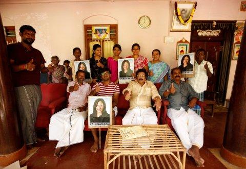 Harris-Unterstützer im indischen Painganadu, nahe des Geburtsorts von Harris Großvater
