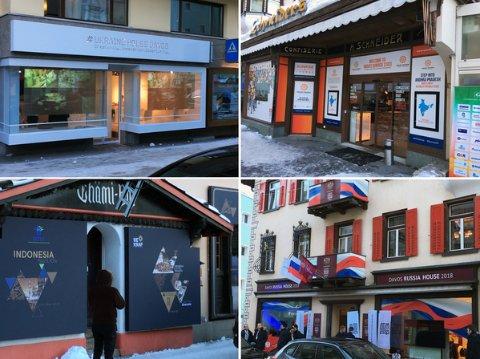 Die Promenade ist eigentlich die Geschäftsstraße von Davos, mit allerlei Modeläden und Cafés. Doch während des Weltwirtschaftsforums verwandelt sich die Straße, viele der Geschäfte werden von Konzernen oder staatlichen Agenturen angemietet, die für Ihre Marke oder ihr Land werben wollen. So wird aus einem Schuhgeschäft das Ukraine Haus - übrigens direkt gegenüber des (deutlich größeren russischen Hauses. Im Café Schneider hat sich die indische Delegation eingemietet und in der rustikalen Chämi Bar wirbt man jetzt für Indonesien.