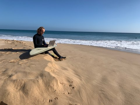 """One of our designers working in his remote """"office""""."""